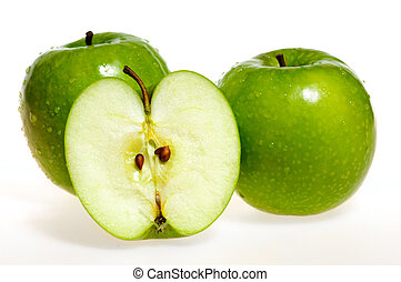 Green apples (granny smith) whole and sliced isolated over...