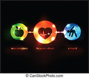 Abstract Wellness symbol Healthy food and fitness leads to...