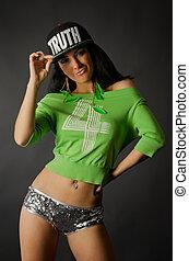 Hip-hop dancer - Young hip-hop dancer is posing in studio