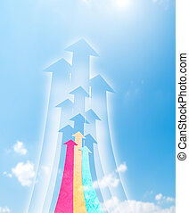 Arrowheads fly upward to sky. Arrowheads shape made by...