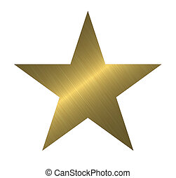 Scratched metal star - Yellow scratched metal star shape -...
