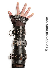 Hand in Leather Cuffs Isolated