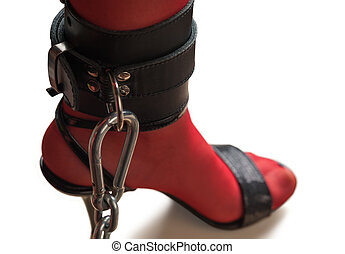 Chained Leg in Leather Cuff