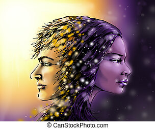 Day and night - Digital illustration of man and woman...
