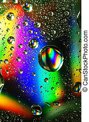 Colorful water drops, iridescent abstract background