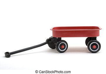 Red Wagon - Toy red wagon on a white background