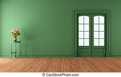 Empty green living room with sliding door - Empty vintage...