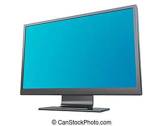 Computer Monitor with blank screen - Isolated on white...