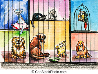 Animals - Sad animals in the pound.Picture created with...