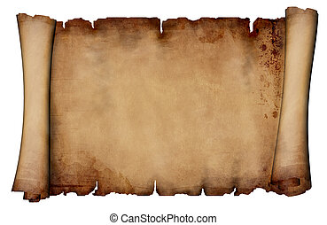 Antique paper scroll - isolated on white background