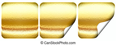 Set of empty golden seal - isolated on white background