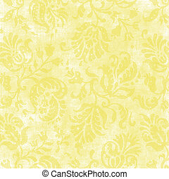 Yellow Floral Tapestry - Worn yellow floral tapestry pattern