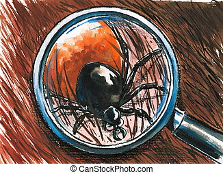 Tick - Close up of dog tick on the fur.Picture created with...