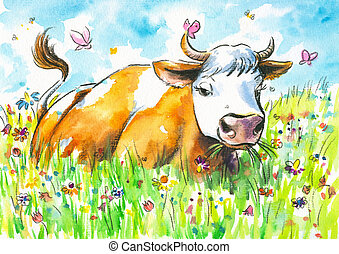 Cow on a field watercolor painted