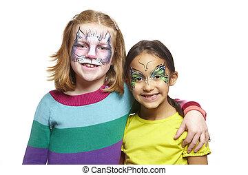 joven, niñas, cara, Pintura, gato, mariposa