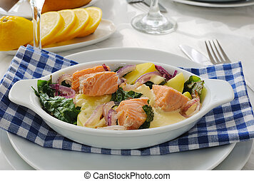 Salmon with potatoes and spinach cream sauce - Baked salmon...
