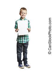 School boy with blank notepad - 8 year old school boy with...
