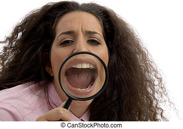 young corporate woman with magnified mouth with white...