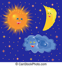 Sun, Moon And Cloud On The Starry Sky - Sun, Moon and Cloud...