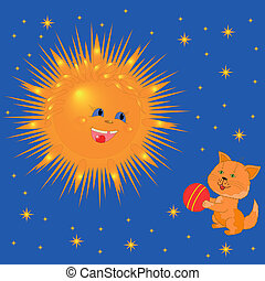 Sun And Kitten With A Ball