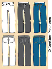 Mans jeans - Jeans for man.Vector modern clothes isolated