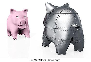 a stranger pig piggy - a standard pink piggy bank has an...
