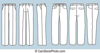 moda, calças, homem