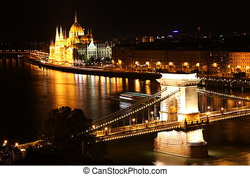 Budapest - Hungarian parliament and chain bridge