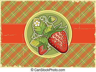 Strawberries vintage background.Vector label illustration
