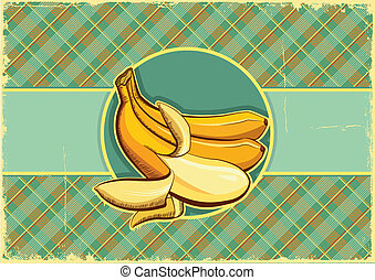 Bananas label.Vintage fruits background on old paper texture