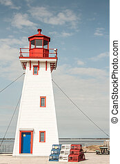 Arcadian Lighthouse - Red white and blue lighthouse in New...