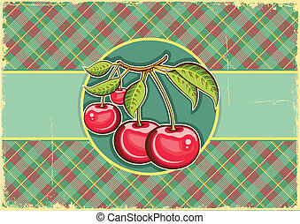 Cherries background.Vector vintage label on old paper texture