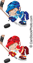 set funny boy hockey - illustration of a set funny boy...