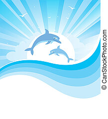 Dolphins in blue sea Vector nature seascape with abstract...