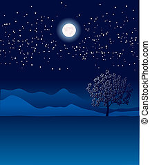 Lonely tree in night landscape.Vector blue illustration -...