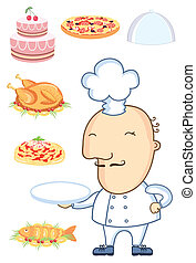 Chef man with .Vector food isolated on white for design
