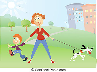 Mother with naughty boy and dog
