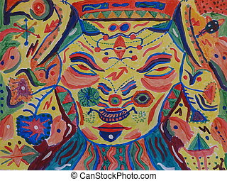 Totem Face Paint - A hand made painting of a mysterious...
