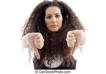 beautiful woman showing thumbs down with white background
