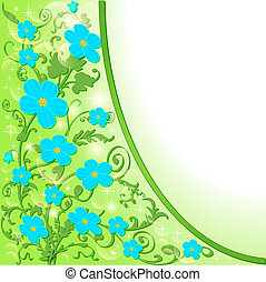 of the background with blue flowers