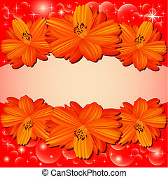 of the background with red flowers