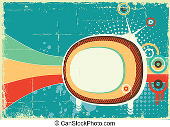 Retro telvision on old poster backgroundVector color