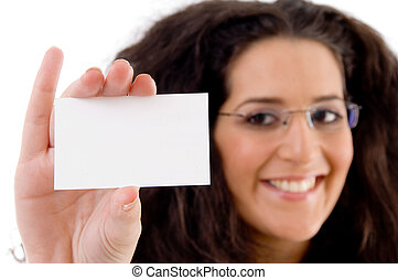 businesswoman showing business card on an isolated white...