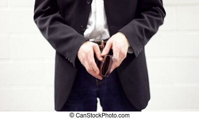 Business Man with Empty Wallet - Businessman extending his...