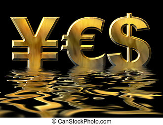 Word YES written by gold symbols of yen, dollar and euro