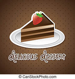 cake vector - chocolated cake with strawberry over brown...