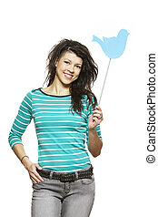 Young woman holding a social media sign smiling