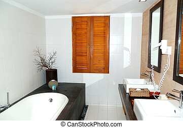 Bathroom at the luxury villa, Bentota, Sri Lanka
