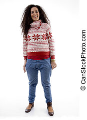 standing young woman looking at camera on an isolated...
