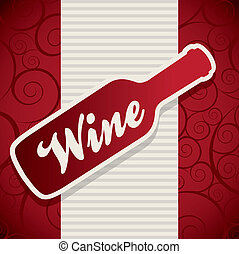 wine bottle over red background. vector illustration